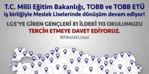 LGS tercihlerinde gençlerimizi 81 ilde desteklediğimiz 113 meslek lisemize bekliyoruz.