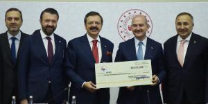 TOBB'DAN AFAD'A DOĞAL AFETLER İÇİN 50,5 MİLYON LİRA YARDIM